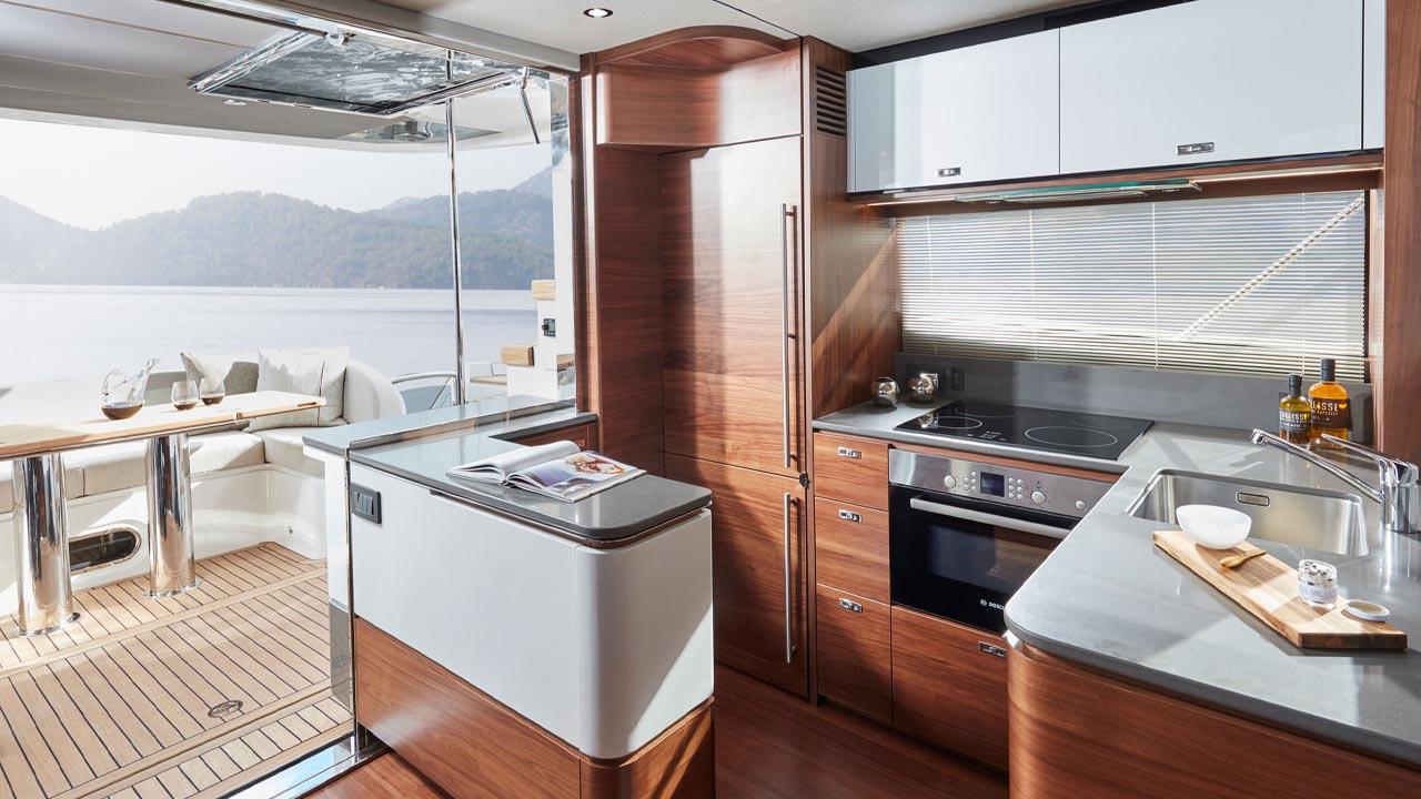 3-Princess-55-interior-galley-walnut-satin