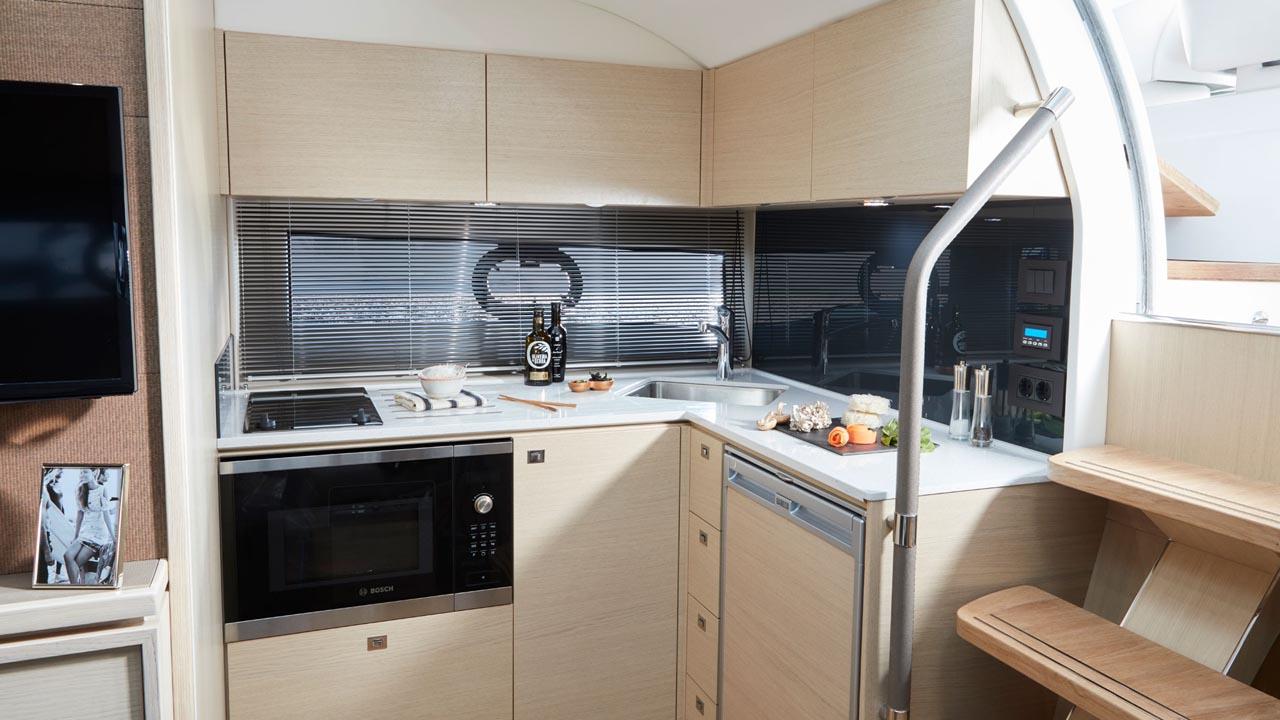 5-Princess-V40-interior-galley-alba-oak-satin